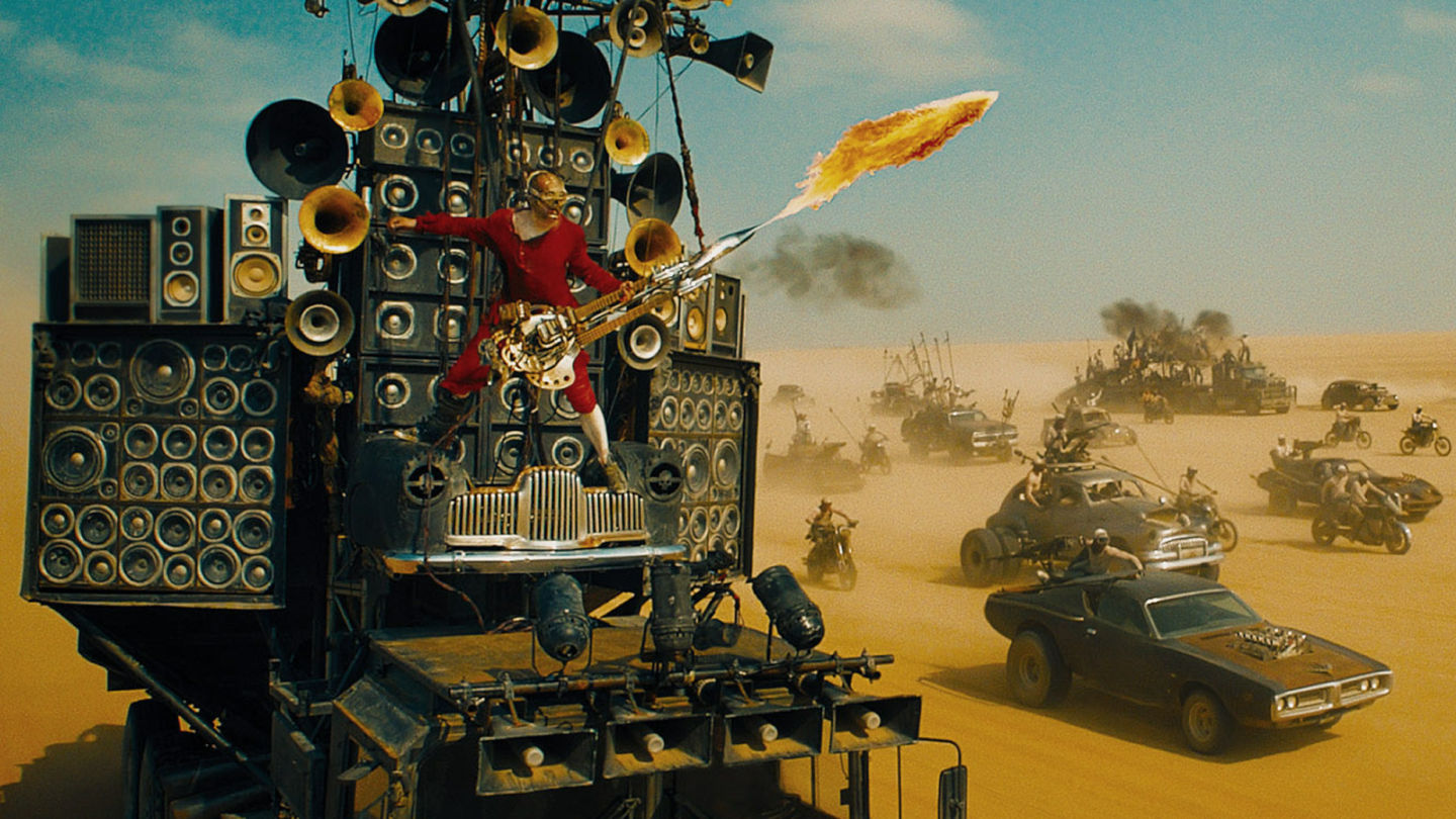 "The Doof Warrior plays his riffs in ""Mad Max: Fury Road""."