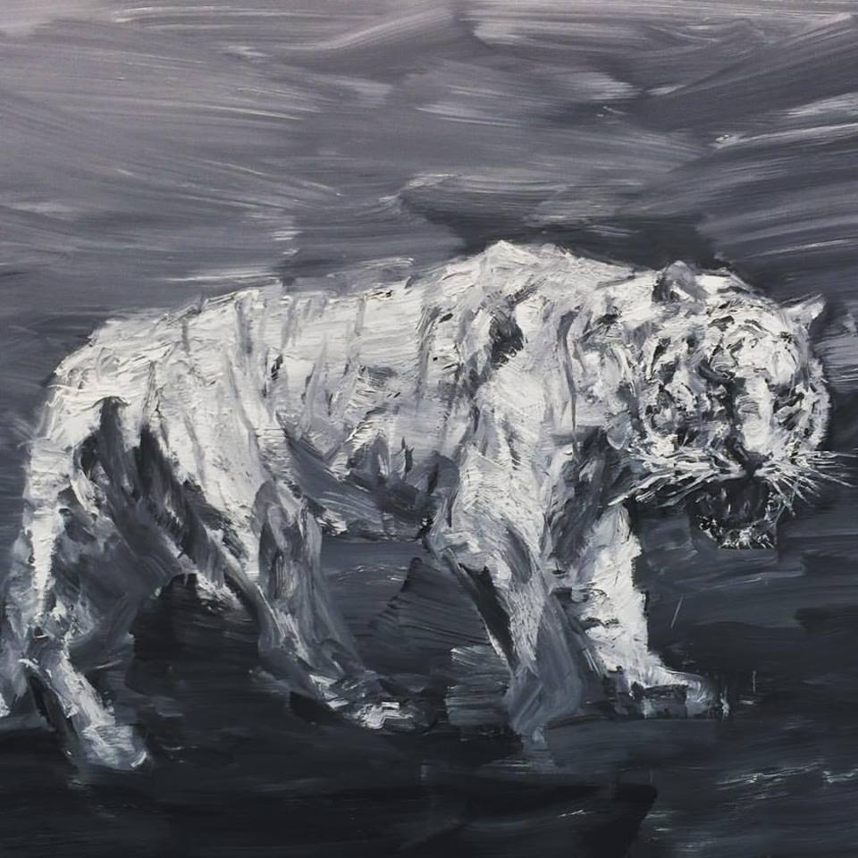 "Yan Pein-Ming, ""Tigre blanc"", 2015, at Galerie Thaddaeus Ropac."