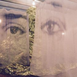 """""""Regards"""", 2013. Printed Veils, light bulbs, wire, electric wire."""