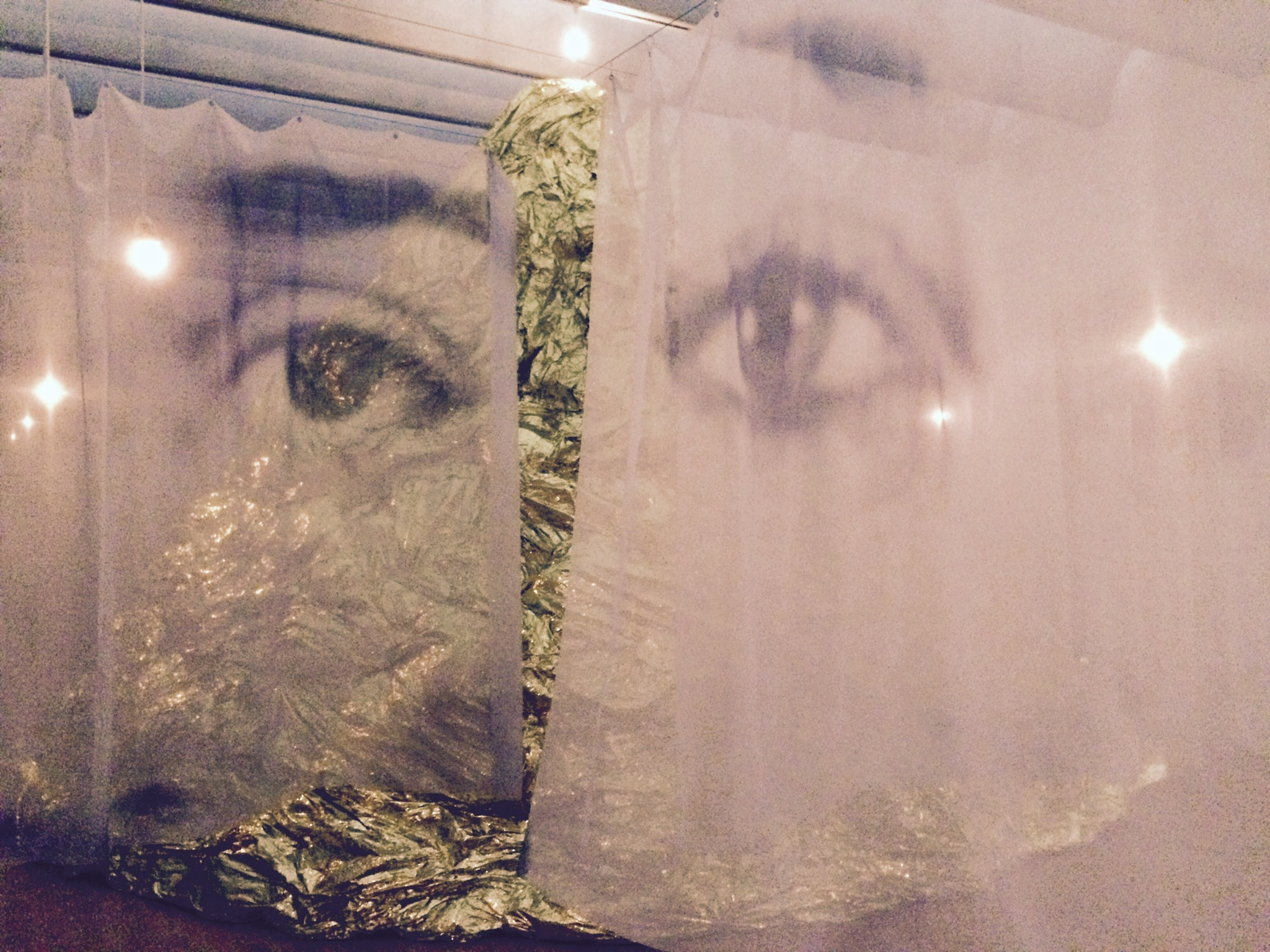 """Regards"", 2013. Printed Veils, light bulbs, wire, electric wire."