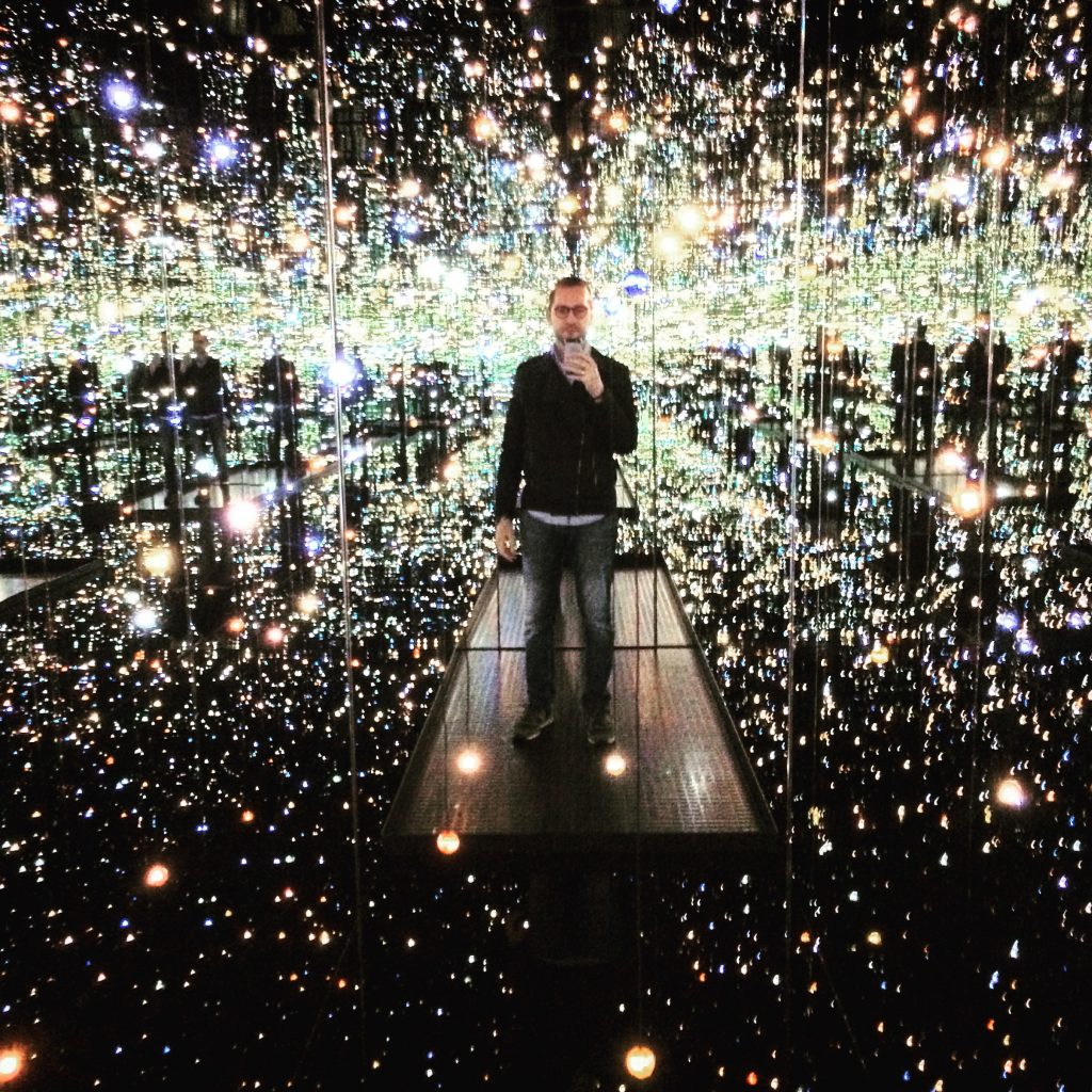 "Inside Yayoi Kusama's ""Infinity Mirrored Room""."